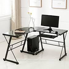 glass home office desks. Mecor Computer Desk Corner L-Shape Glass Laptop Table Workstation With Keyboard Tray Home Office Desks