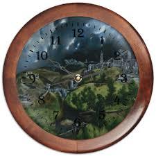 Часы круглые из дерева <b>Вид Толедо</b> (<b>картина</b> Эль Греко ...