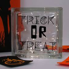 personalised trick or treat led glass block