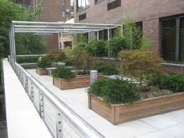 Exterior:Beautify Rooftop Terrace Garden Design With Wooden Garden  Container Also Chrome Metal Fence Also