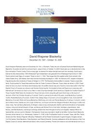 TJM Funeral - Obituaries - David Wagoner - Blackerby