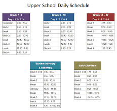 Daily Time Table Upper School Daily Schedule Upper School