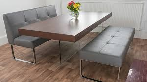 contemporary dining room sets with bench. Brilliant Dining Modern Glass Based Dining Table And Grey Benches On Contemporary Room Sets With Bench N