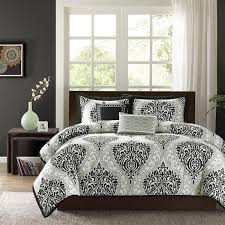 twin xl full queen cal king bed black gray grey white damask 5 pc comforter set