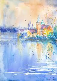 impressionist watercolour painting prague original watercolour painting impressionist watercolor sunset
