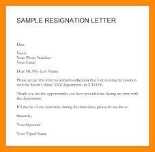 Example Resignation Letter Sample Resignation Letters Resignation