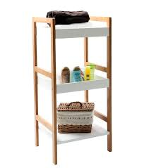 unique standing shelves for bathroom gloss white bamboo shelving unit 3 tier home storage systems