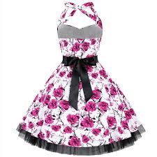 Sweet Heart Rose Size Chart Sweetheart Rose Print Vintage Halter Swing Dress