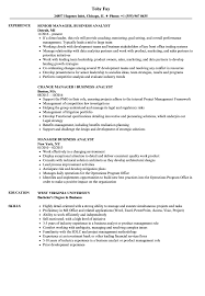 Manager Business Analyst Resume Samples Velvet Jobs