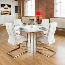 Oak Round Dining Table And Chairs Large 140cm Luxury Round Dining Table Set With Four White Padded