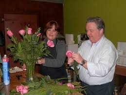 diane gavin left and brian mccarthy arrange a rose bouquet at white s country fl 515 s state st clarks summit photo stephanie longo