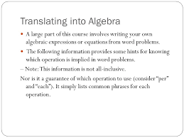8 translating into algebra