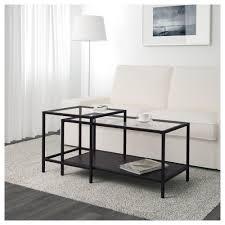 nesting tables set of 2 black brownglass ikea 0452431 pe6013