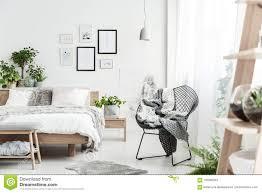 Natural Bedroom Interior Design Designer Chair In Natural Bedroom Stock Image Image Of
