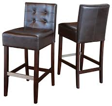gdf studio gregory brown leather back stools bar height set of 2