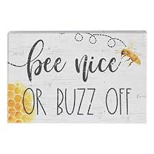 """Buy Simply Said, INC Small Talk Sign 3.5"""" x 5.25"""" Wood Block Plaque STR1286  - Bee Nice or Buzz Off Online in Bahrain. B07QGKHQS2"""
