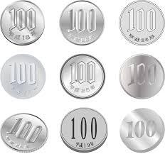 フリーイラスト 9種類の100円玉のセットでアハ体験 Gahag 著作権