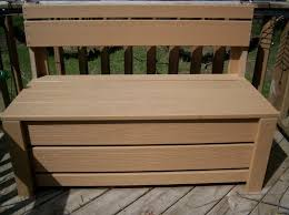 simple wooden outdoor bench with storage