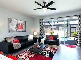 black white red living room decor grey