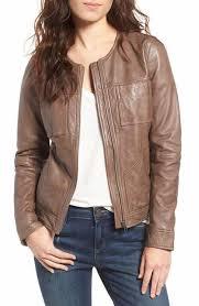hinge collarless leather jacket