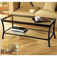 Rectangular Coffee Table with Metal Frames in Dark Bronze Finish and Clear  Glass Top - Features