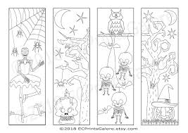 Don't forget to customize every card with stickers and your own photos. 4 Halloween Bookmarks With Skeletons A Pumpkin Spiders Bats And An Owl To Download Print Out An Coloring Bookmarks Halloween Coloring Spider Coloring Page