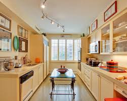 track kitchen lighting. Example Of An Eclectic Galley Enclosed Kitchen Design In DC Metro With Shaker Cabinets A Track Lighting N