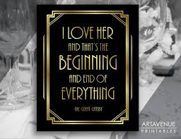 The Great Gatsby Love Quotes Amazing Gatsby Party Decor Printable Sign Great Gatsby Love Quote Etsy