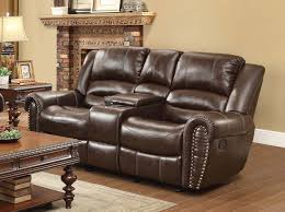 dark brown leather recliner chair. Leather Reclining Chair | Chaise Recliner Loveseat With Center Console Dark Brown