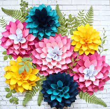 Large Paper Flower Pattern Diy Giant Dahlia Paper Flowers How To Make Large Paper Dahlias
