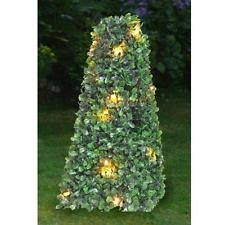SOLAR POWERED TOPIARY BUSH TREE BALL POT 10 WARM WHITE LED LIGHTS Artificial Topiary Trees With Solar Lights