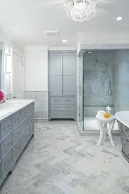 herringbone tile floor. Grey Herringbone Tile Floor Honed Marble Tiles With Gray Recessed Linen Cabinet Bathroom