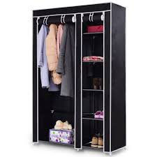 69 portable closet storage organizer clothes wardrobe shoe rack w 6 shelf black