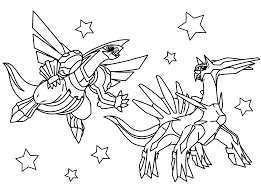 Legendary Pokemon Coloring Pages Dialga And Palkia Coloringstar