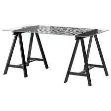 glasholm oddvald table ikea for my desk behind the couch to help balamce the