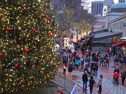 faneuil hall christmas tree lighting. holiday lights at the faneuil hall marketplace boston massachusetts usa christmas tree lighting