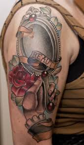 hand holding mirror drawing. Right Half Sleeve Red Rose And Hand Mirror Tattoo On Holding Drawing E