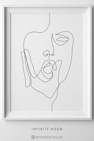Woman Face One Line Drawing Abstract Figurative Line Art Print