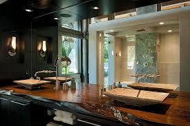 view in gallery modern rustic bathroom with a natural edge wooden vanity design dianne davant and associates