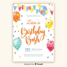 Watercolor Style Birthday Invitation Template Vector Free