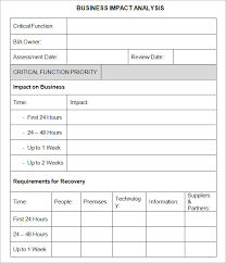Sample Business Plan Outline Business Impact Analysis Template
