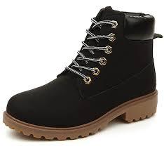 com dadawen women s lace up low heel work combat boots waterproof ankle bootie ankle bootie