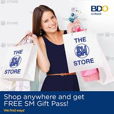 Rcbc bankard mastercard, visa, and jcb; Bdo Unibank Shop Choose Redeem Spend At Least P3 000 Or P15 000 Anywhere With Your Bdo Credit Card And Get P100 Or P500 Sm Gift Pass Valid At The Sm Store More