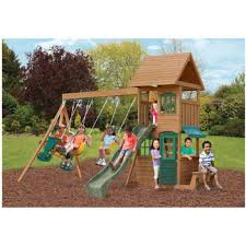 the windale wooden play set is packed with fun activities for up to nine children at once the multi level design has an upper clubhouse that can be