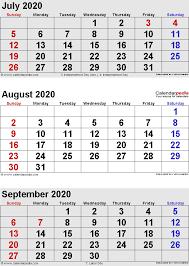 June July 2020 Calendar August 2020 Calendars For Word Excel Pdf