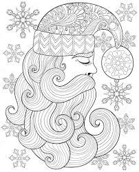 Vector Zentangle Santa Claus Voor Volwassen Antistress Kleurplaten