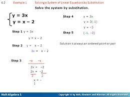 6 2 example 1 solving a system of linear equations by substitution solve the system
