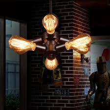 industrial 6 light chandelier in open bulb style black