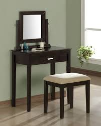 luxurious dark wood makeup vanity with mirror out of the ordinary table