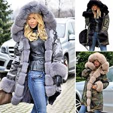 2018 fashion luxury women faux fur coat casual hood parka las long trench jacket winter warm thick long parka faux fur hooded overcoat outwear from